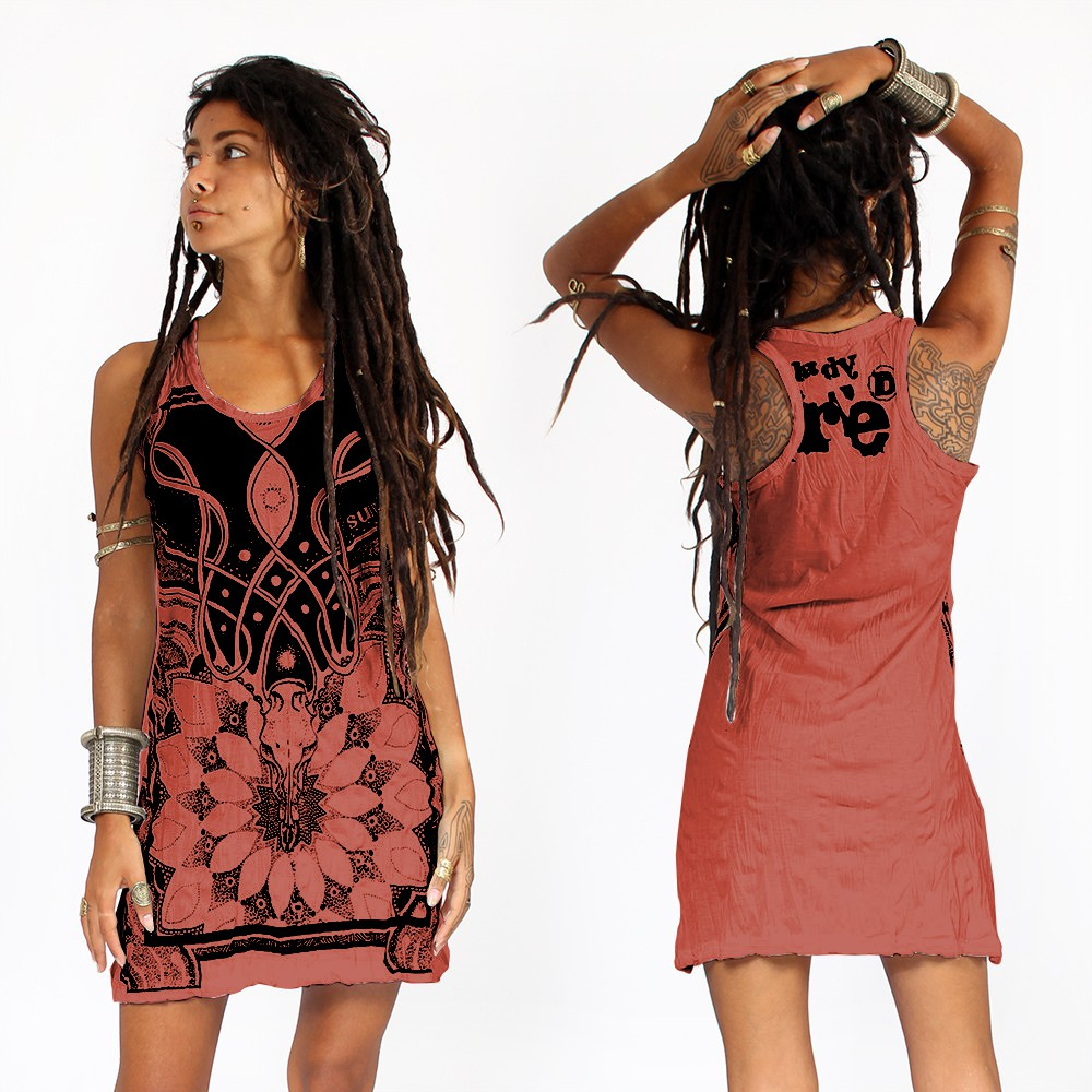 """Lotus\"" dress, Dark red"