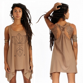 """Lotus\"" knotted tunic, Brown and black"