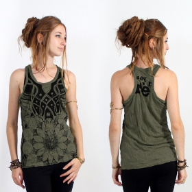"\""Lotus\\\"" tank top, Khaki"