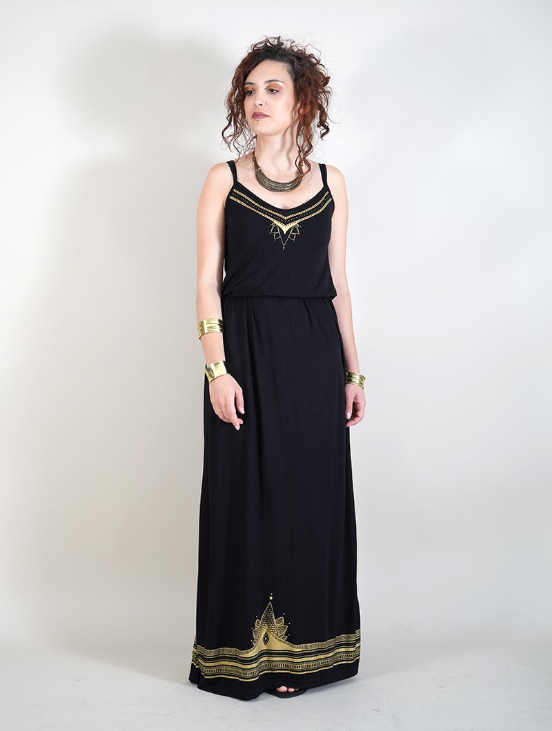 """Lotus Ciryandil\"" shoulder strap top, Black"