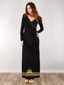 "\""Lotus Elerinna\"" high waist maxi skirt, Black with golden prints"