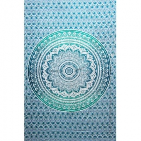 """Lotus Mandala\"" hanging, Green and white"