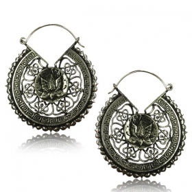 "\""Lotus Mandala Pali\\\"" White brass earrings"