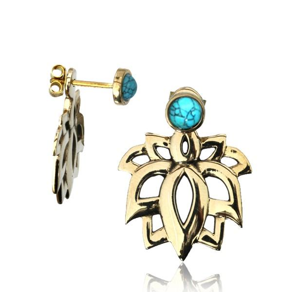 "\""Lotus Sayam Turquoise\"" earrings"