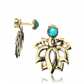 """Lotus Sayam Turquoise\"" earrings"