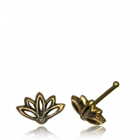 "\""Lotus Terya\\\"" brass nose stud"