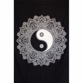 """Lotus Yin Yang\"" hanging, Black and white"