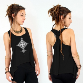 """Maaloo\"" knotted tank top, Black and silver"