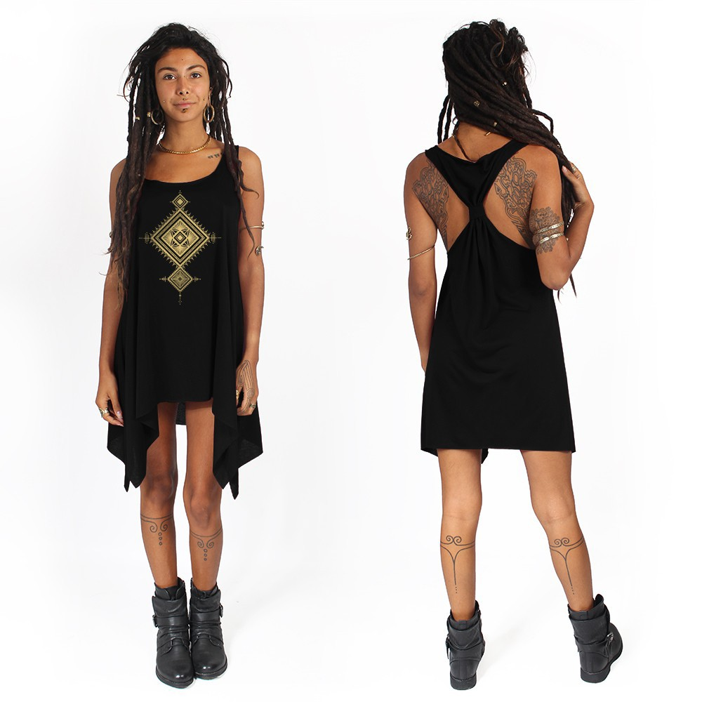 """Maaloo\"" knotted tunic, Black and gold"