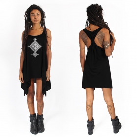 """Maaloo\"" knotted tunic, Black and silver"