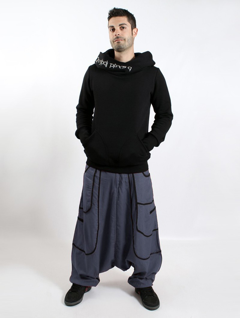 "Macha \""Lines\"" harem pants, Grey with black lines"