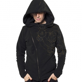 """Magic Circle\"" zip up hoodie, Black"