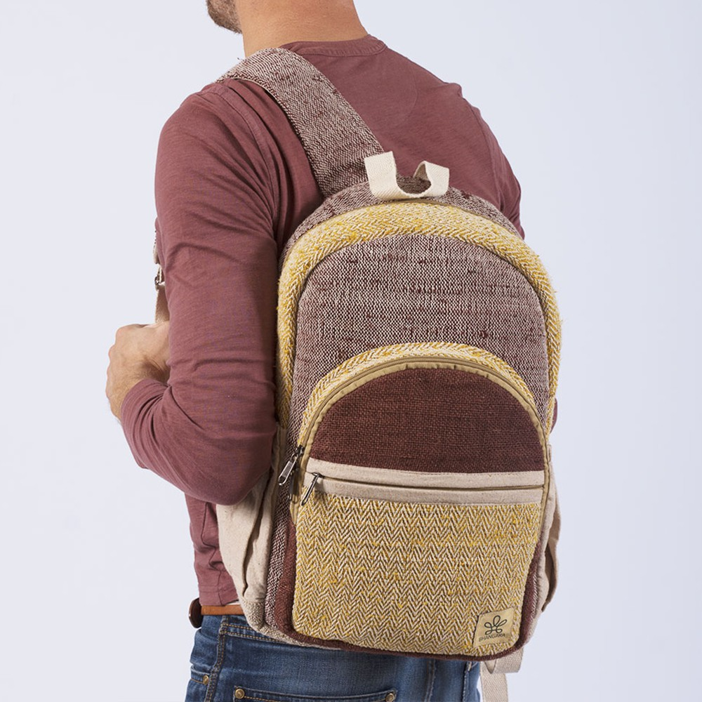 "\""Manang\"" backpack, brown hemp and cotton"