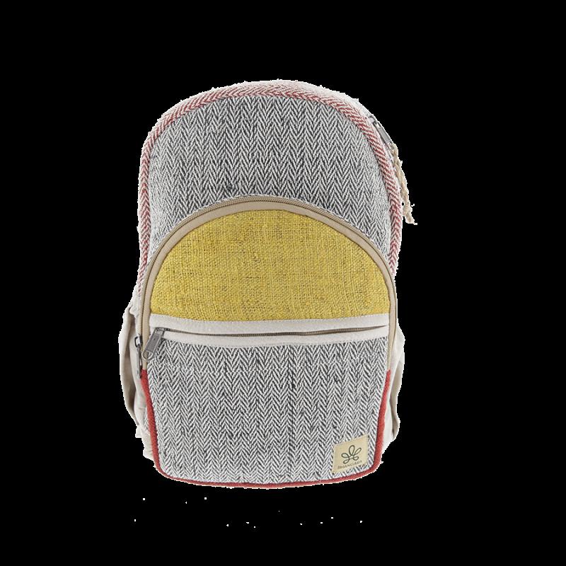 "\""Manang\"" backpack, saffron hemp and cotton"