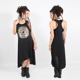 "\\\""Mandala\\\"" asymmetric dress, Black and gold"