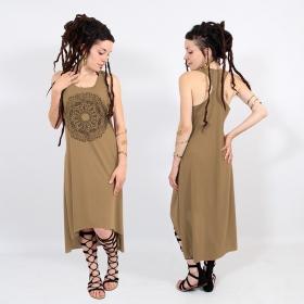 "\\\""Mandala\\\"" asymmetric dress, Brown and black"