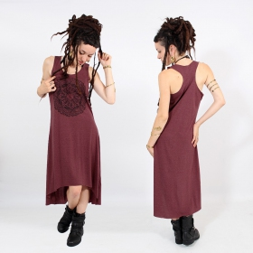 "\""Mandala\\\"" asymmetric dress, Mottled wine and black"