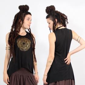 "\\\""Mandala\\\"" asymmetric top, Black and gold"