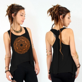 """Mandala\"" knotted tank top, Black and copper"
