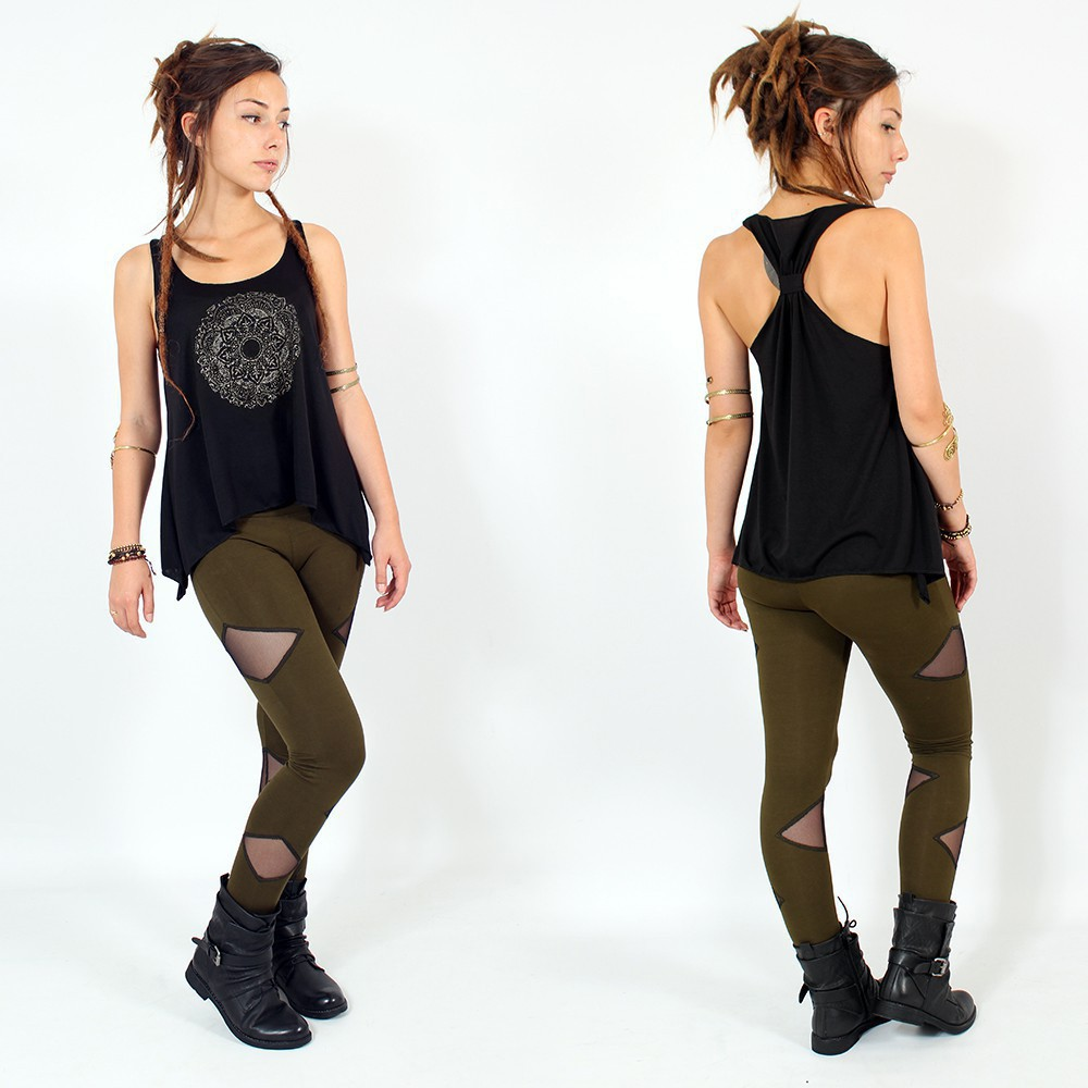 """Mandala\"" knotted tank top, Black and Silver"
