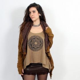 "\""Mandala\\\"" knotted tank top, Brown and black"