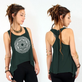 """Mandala\"" knotted tank top, Teal and Silver"