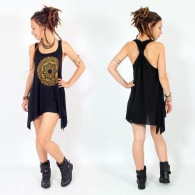 "\\\""Mandala\\\"" knotted tunic, Black and gold"
