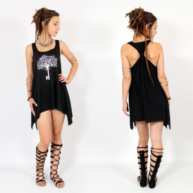 "\""Mandala\\\"" knotted tunic, Black and sliver"