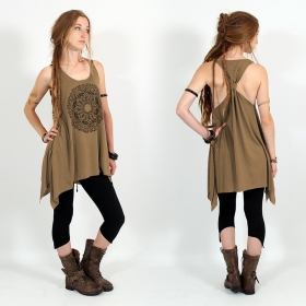 "\""Mandala\\\"" knotted tunic, Brown and black"