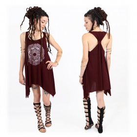 "\""Mandala\\\"" knotted tunic, Wine and silver"