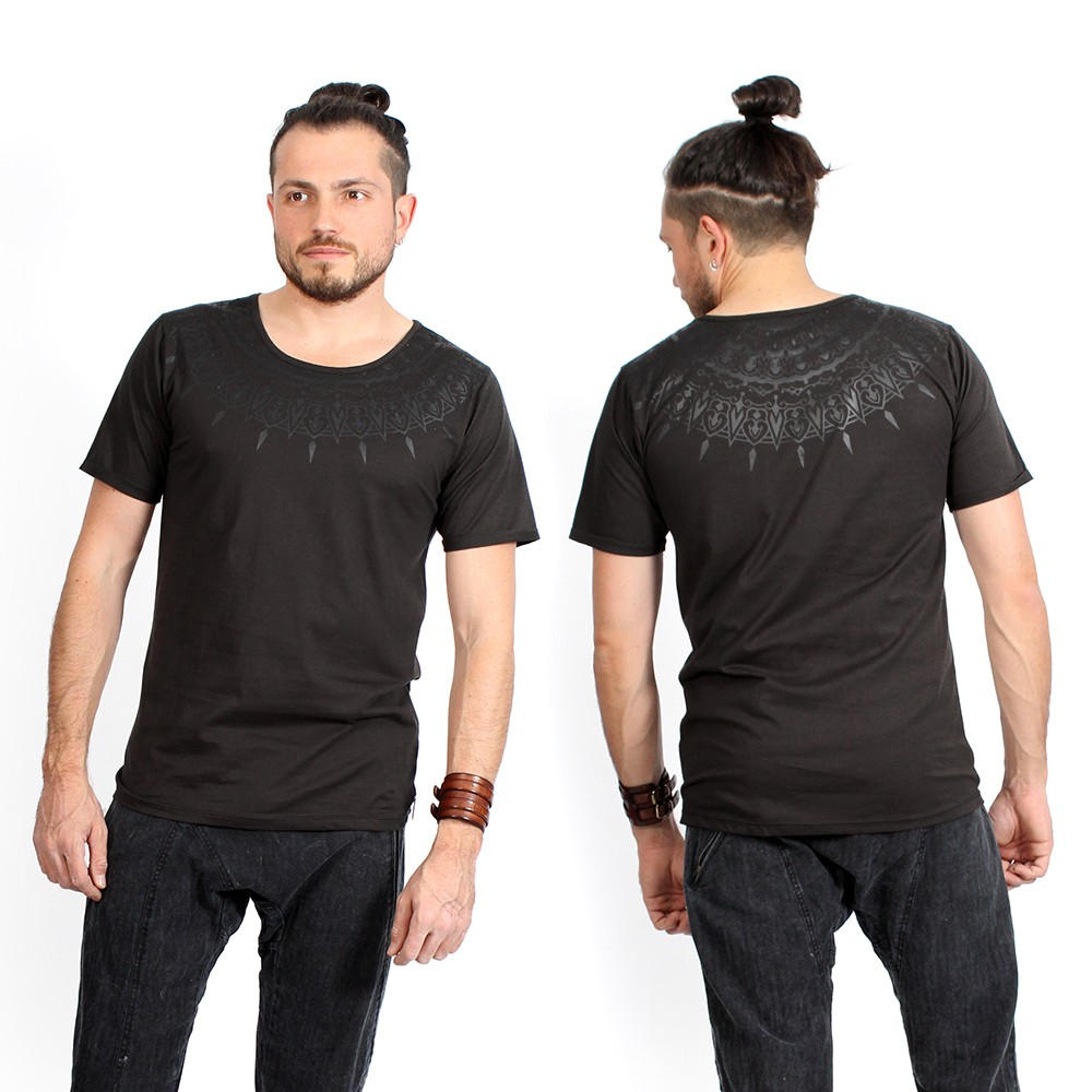 "\""Mandala\"" t-shirt, Charcoal and black"