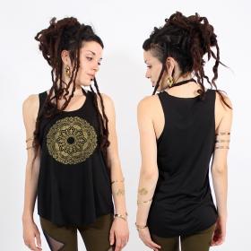 "\""Mandala\"" tank top, Black and gold"