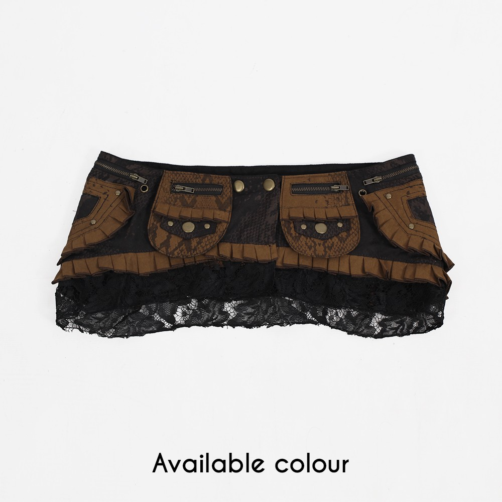 """Mandala 2"" Skirt, Brown and black"