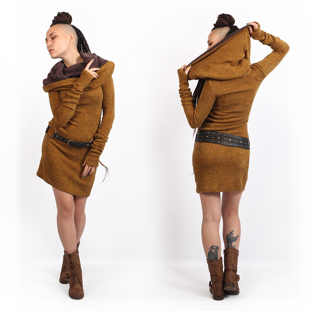 """Mantra\"" sweater dress, Rusty and brown"