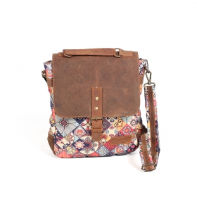 """Maono\"" shoulder purse, Brown leather and cotton with colorful patterns"