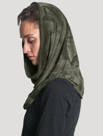 "\""Marble\"" hooded neck warmer, Khaki green"