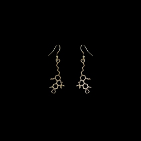 "\""Marijuana\\\"" brass earrings, THC molecule"