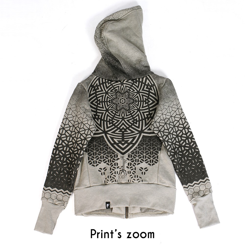 """Mark"" zipped hoodie, Mottled beige"