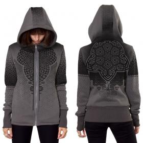 "\""Mark\"" zipped hoodie, Mottled grey"