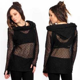 "\""Mayäa\"" crochet sweater, Black"