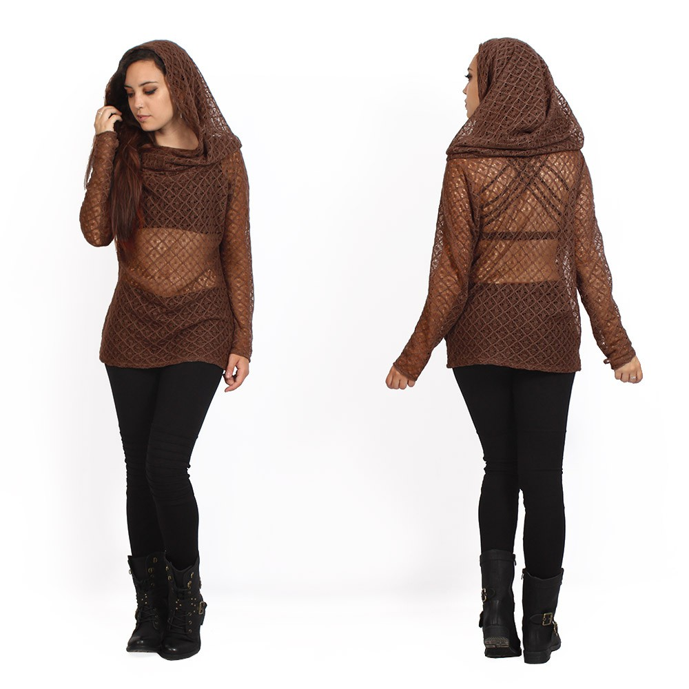 """Mayäa\"" crochet sweater, Brown"