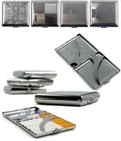 metal chrome flat cigarette box