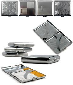 metal chrome flat cigarette box