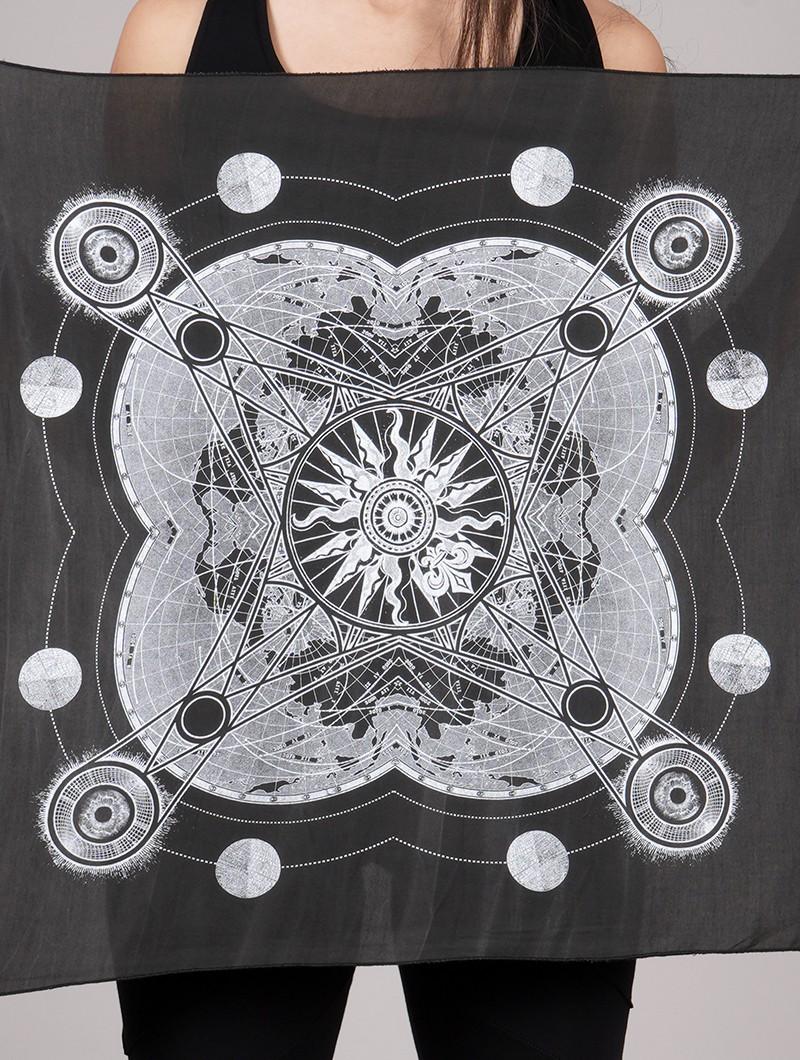 "\""Mizuki\"" bandana / mini wall tapestry, Grey"