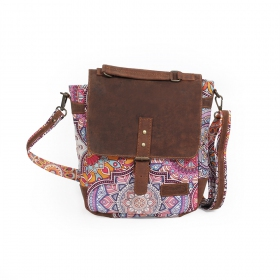 """Moana\"" shoulder purse, Brown leather and cotton with colorful patterns"