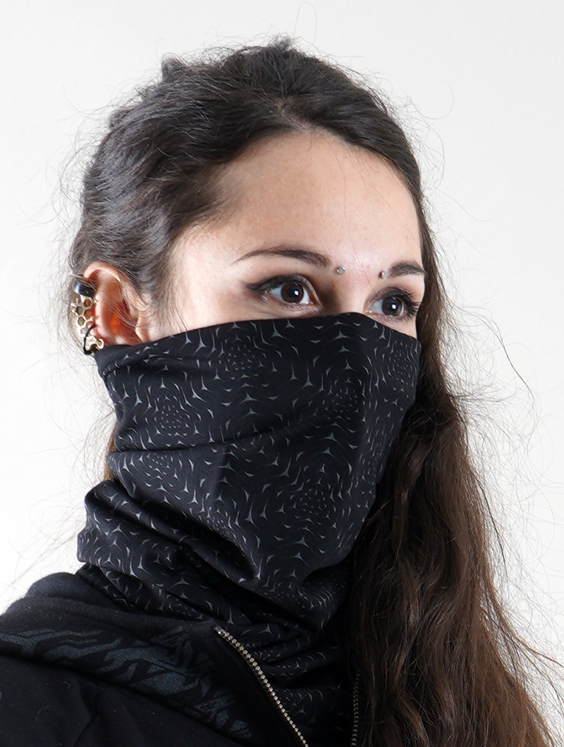 """Moleuka Duo\"" face mask / neck warmer, Phosphorescent prints"