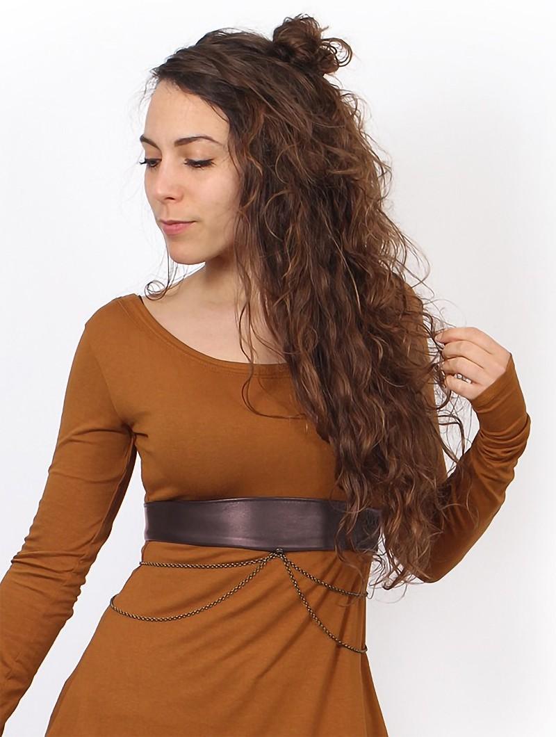 "\""Moöna\"" belt, Brown faux leather"