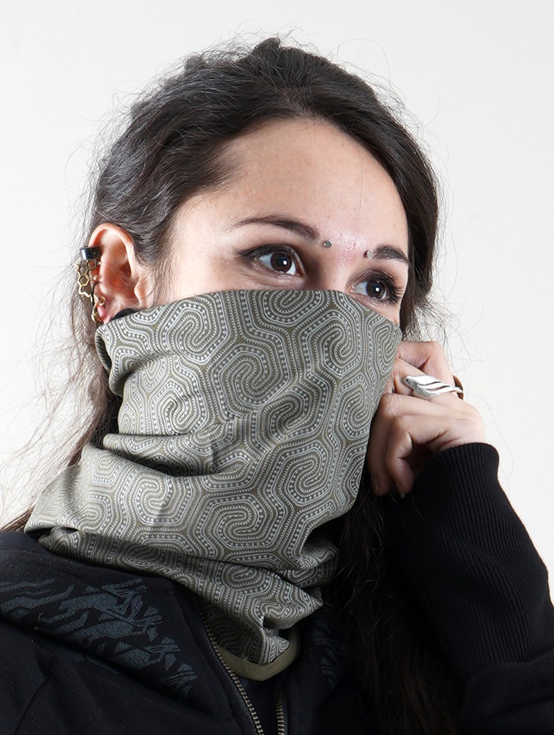 """Morcels Glow\"" face mask / neck warmer, Phosphorescent prints"