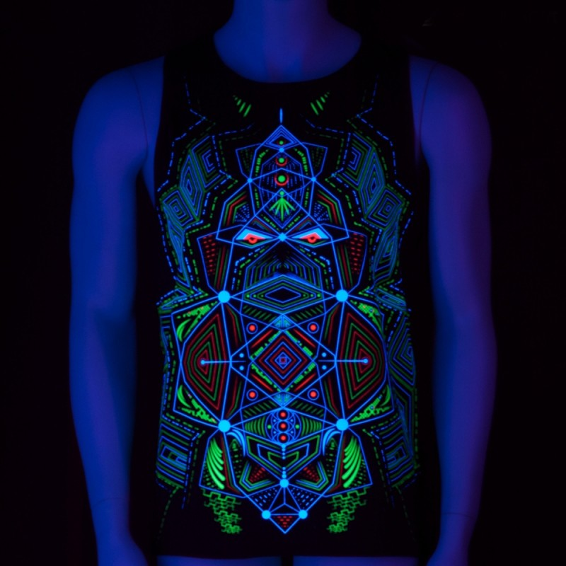 """Multidimensional\"" UV sleeveless tank, Black"