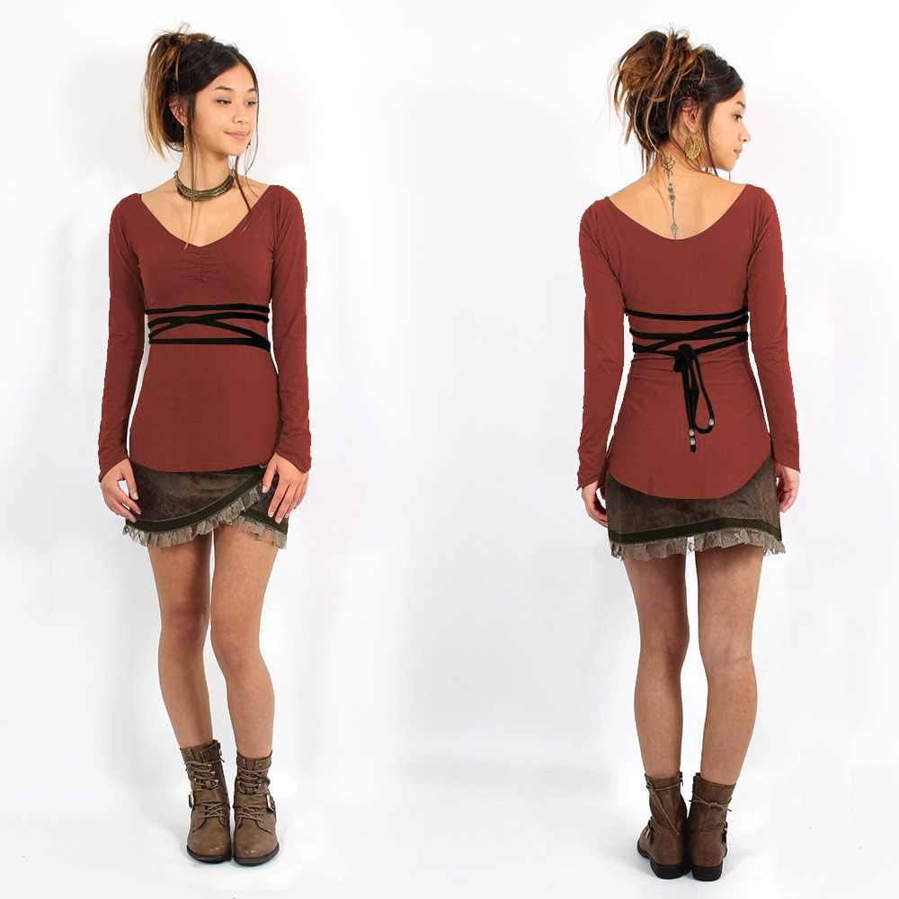 """Mystic\"" Top Pull, Sienna and Black"